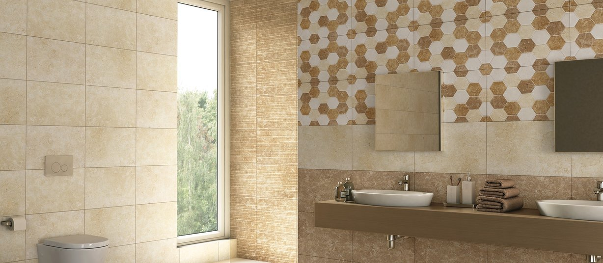 muddy Beige, Brown and Mix tiles Modern style Bathroom