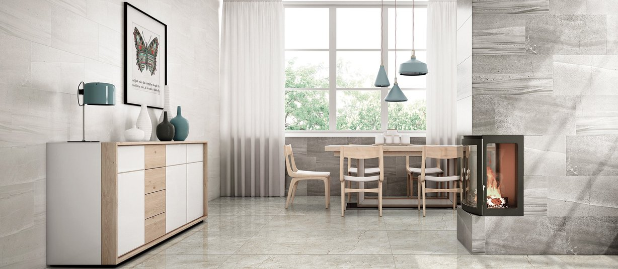 nova Beige, Grey and Ivory tiles Modern style Living