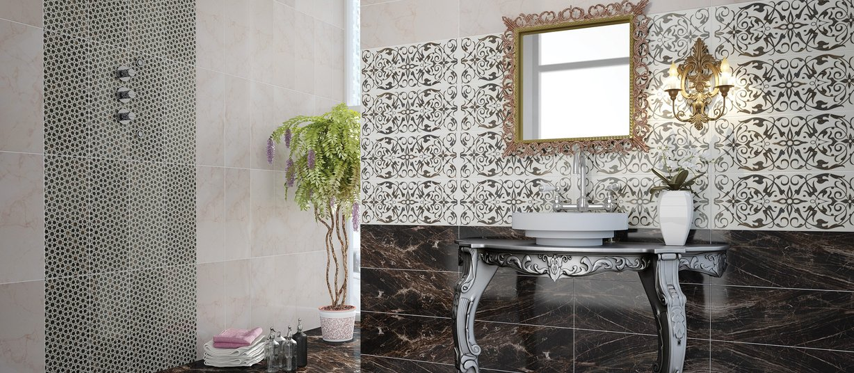 orient Beige, Black, Brown and Ivory tiles Modern style Bathroom