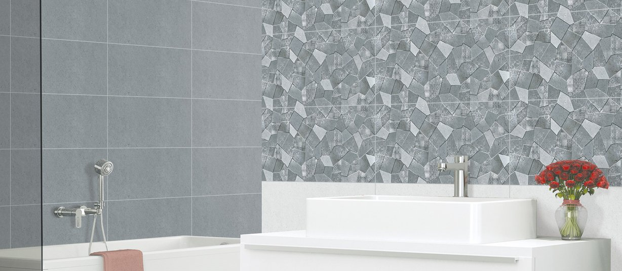 oscar Grey tiles Modern style Bathroom