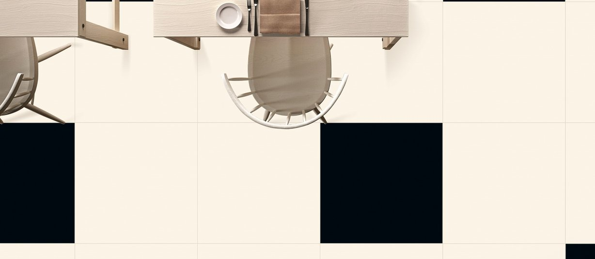 oyster Black and White tiles Modern style Living
