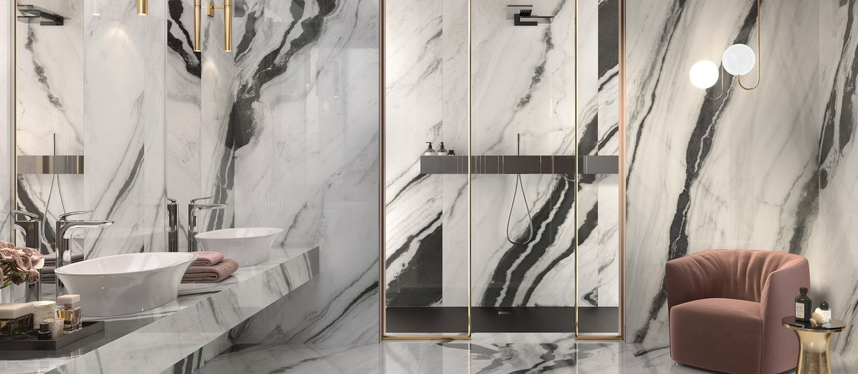panda marble White tiles Modern style Bathroom