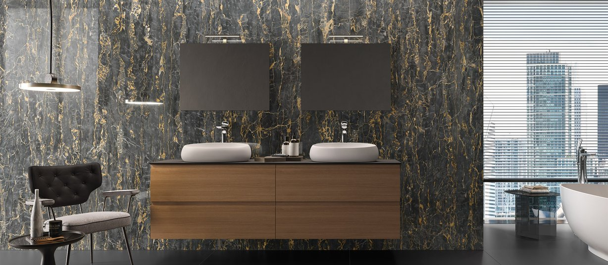 portovenere marble Black tiles Modern style Bathroom