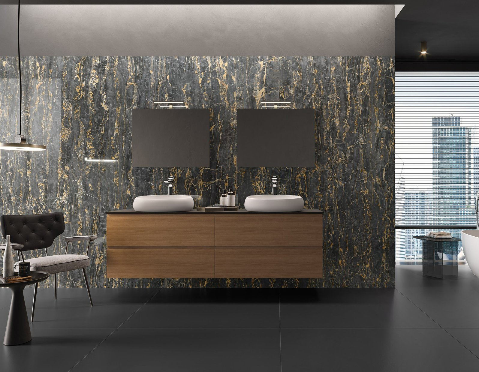 Portovenore Marble Black tiles Modern style Bathroom