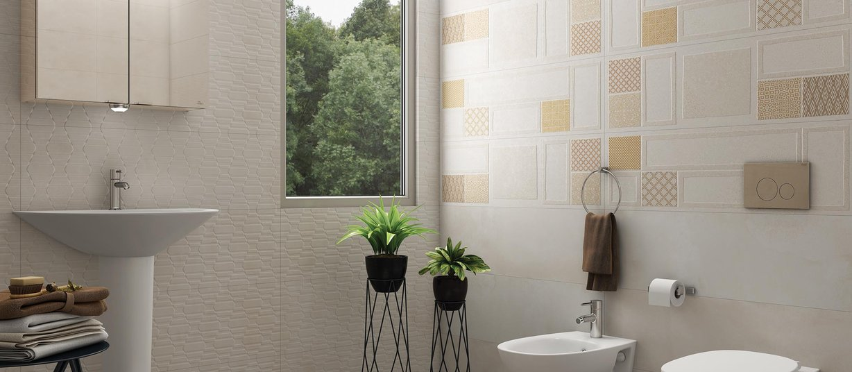 rebus Beige, Brown and White tiles Modern style