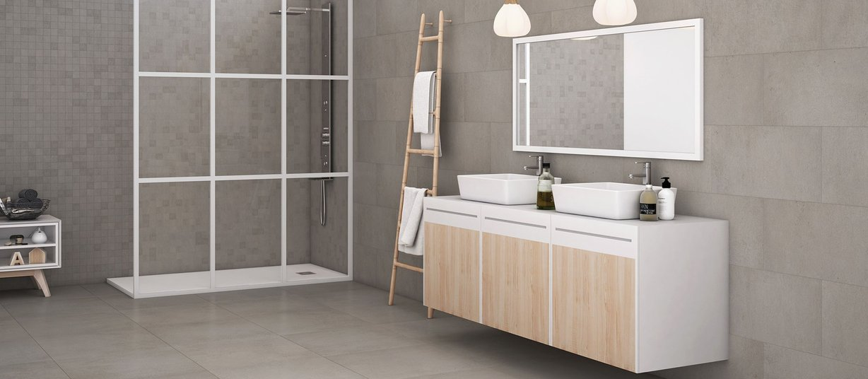 revive concrete Grey and White tiles Modern style