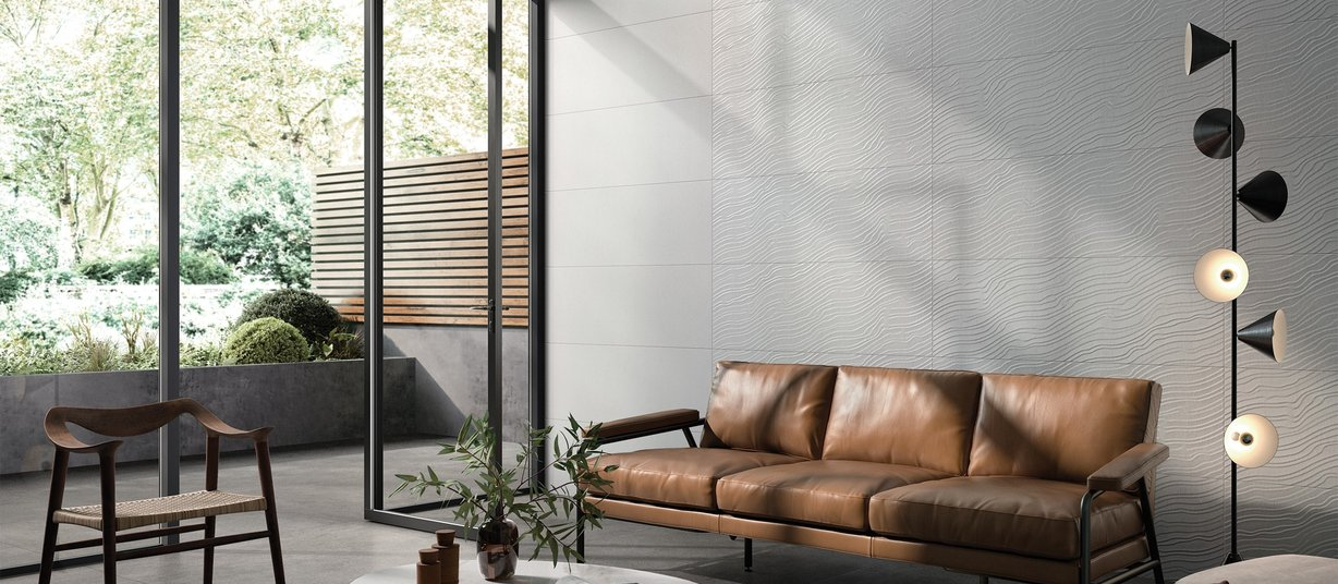 ripple Grey tiles Modern style Living