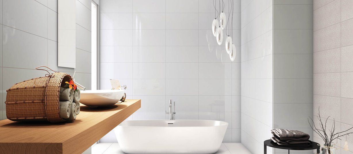 sensation White tiles Modern style Bathroom