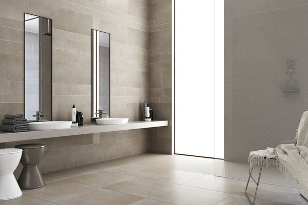 surface 2.0 Beige, Brown and Ivory tiles Modern style Bathroom