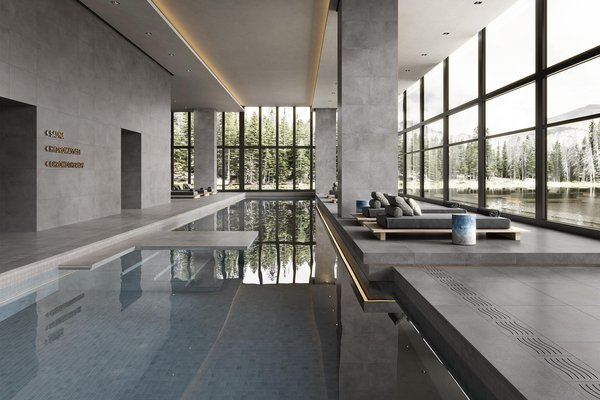 swimming pool Blue and Grey tiles Modern style Wellness and Swimming Pools