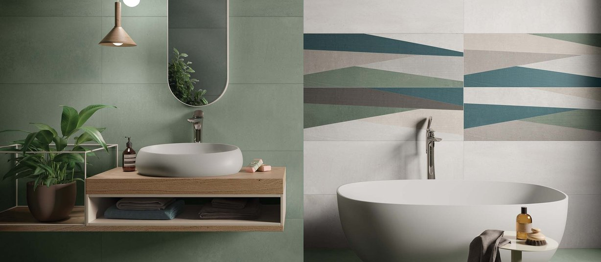 Taut Green, Grey and Mix tiles Modern style Bathroom