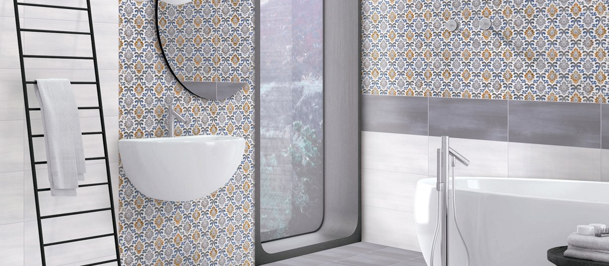 terra Grey, Mix and White tiles Modern style Bathroom