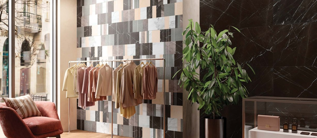 Trust Grey and Mix tiles Modern style Living
