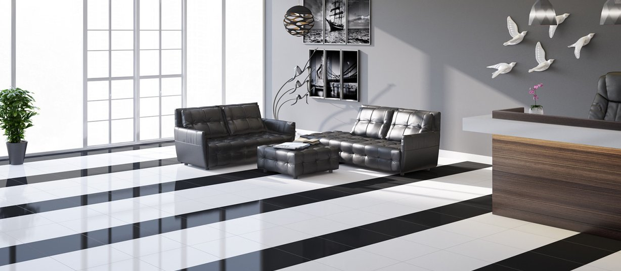 unicolor Black and White tiles Modern style Living