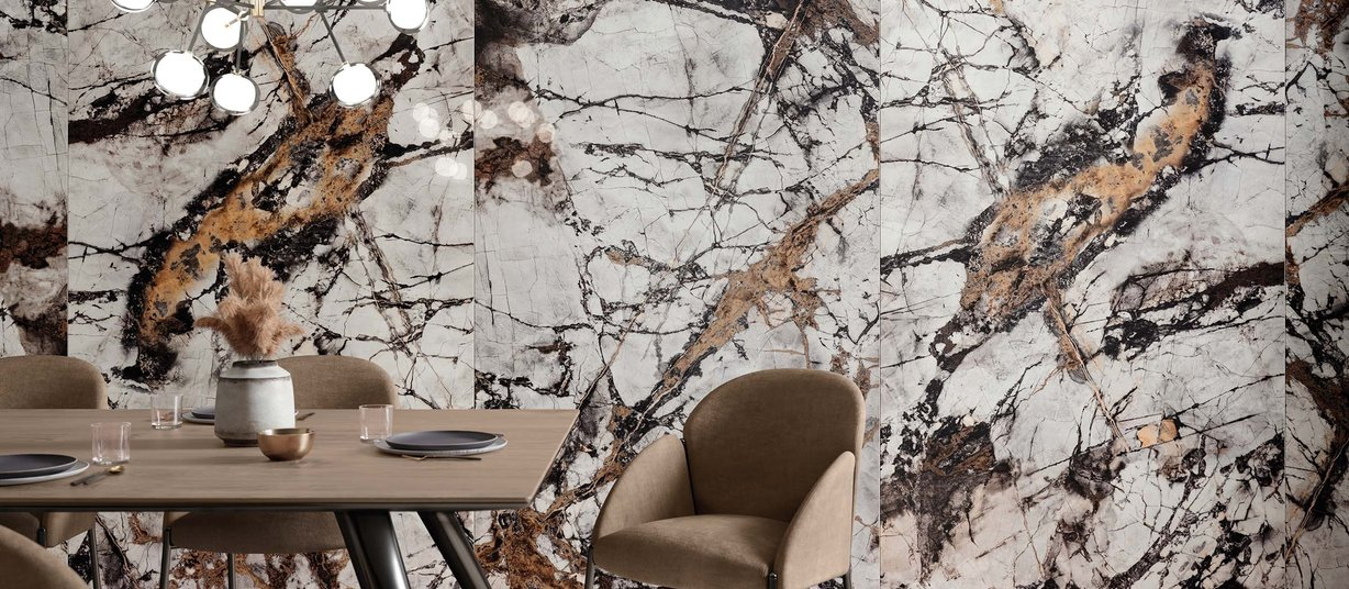 Urban Marble Mix and White tiles Modern style Living